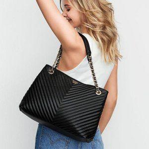 Victoria's Secret Black Pebbled V Quilt Tote Gold